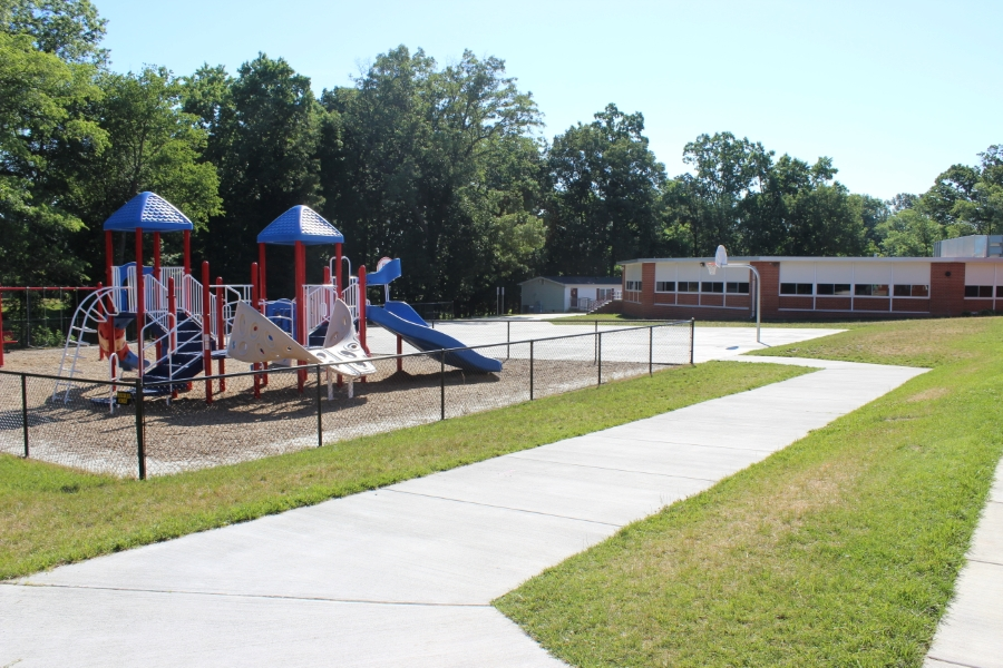 red and blue playground