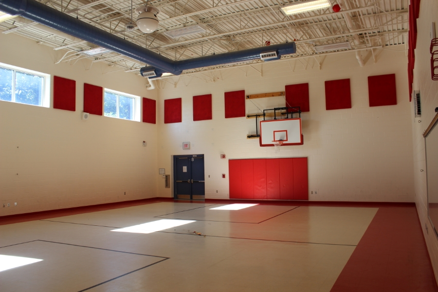 gymnasium with basketball goal
